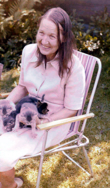 Jean Overton Fuller with her kittens