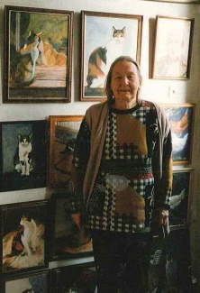 Jean Overton Fuller with her paintings
